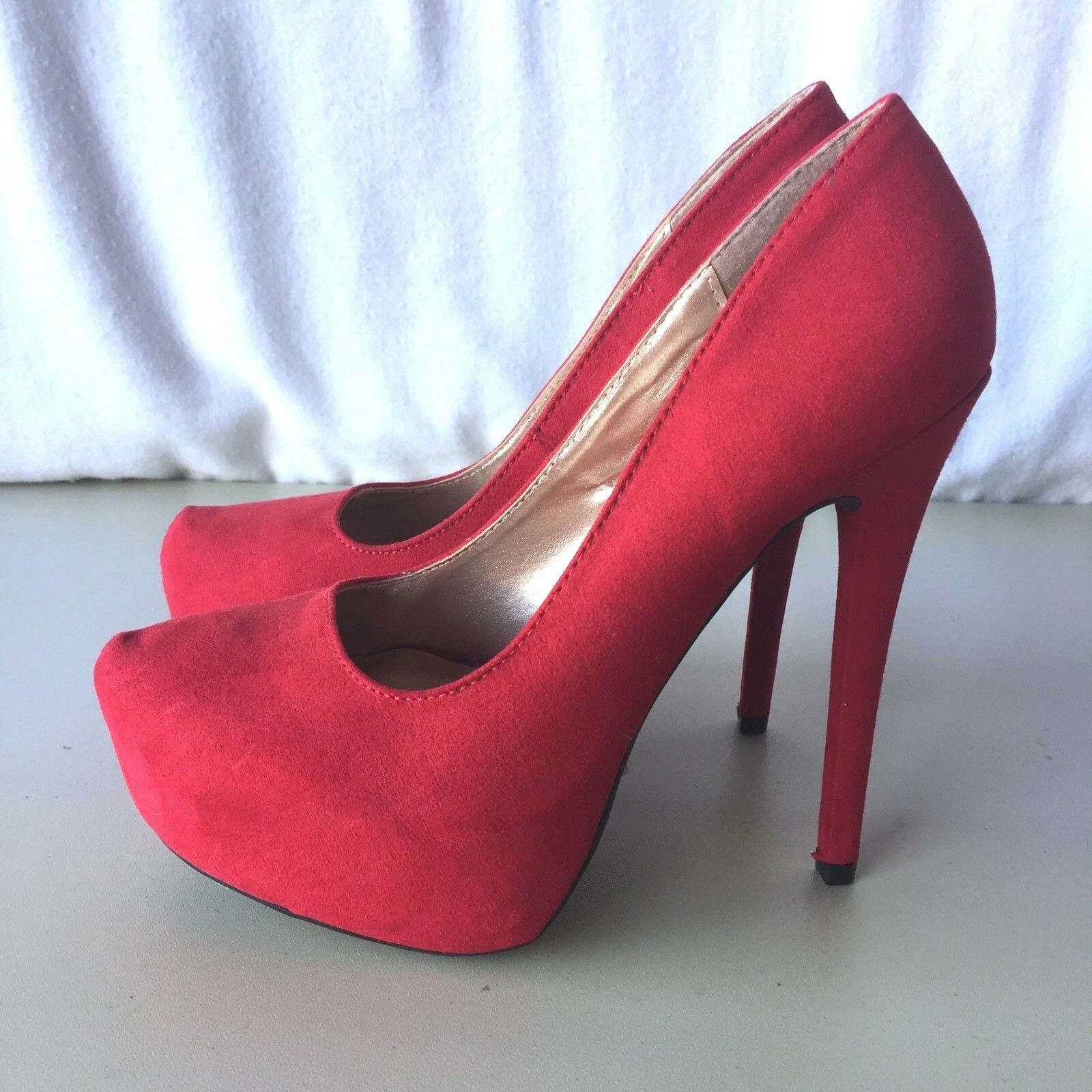 Charlotte Russe Size 7 Red High Heels Stilettos shoes Club Costume Formal
