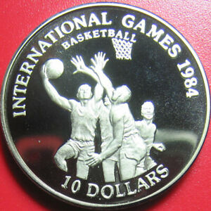 1984-LIBERIA-10-CAMEO-PROOF-BASKETBALL-SPORT-INTERNATIONAL-GAME-CU-NI-no-silver