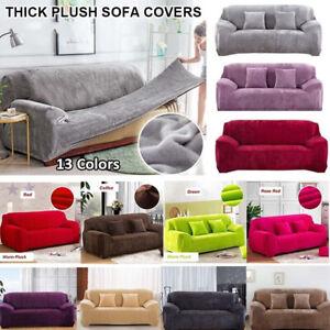 Thick Plush Recliner Sofa Cover Retro
