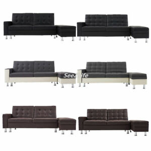 Faux Leather Recliner 3 Seater Sofa Bed