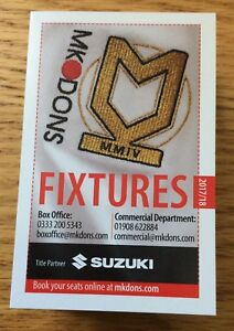MK Dons Football Fixture Card 20172018 Season Sky Bet League One - fenstanton, Cambridgeshire, United Kingdom - MK Dons Football Fixture Card 20172018 Season Sky Bet League One - fenstanton, Cambridgeshire, United Kingdom
