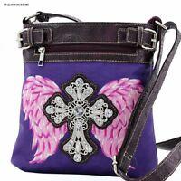 Western Rhinestones Cross On Wings Messenger Handbag