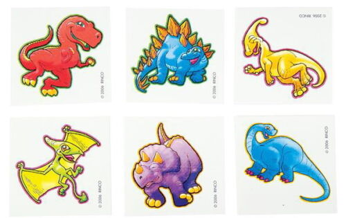 DINO PARTY FAVOR VENDING EACH WITH INSTRUCTIONS 72 DINOSAUR TEMPORARY TATTOOS