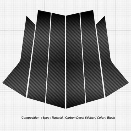 C Pillar Trim Decal Sticker Molding 6P For AUDI 2017-2018 A6 Carbon Black B