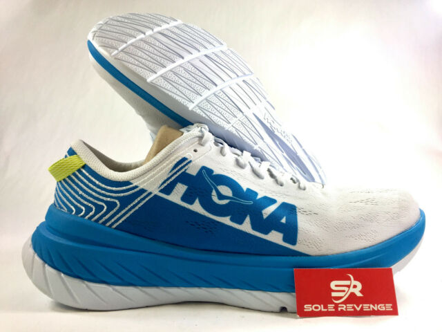 d79513ff97161 NEW! Mens (D,M) HOKA ONE ONE CARBON X White, Dresden Blue Running Shoes