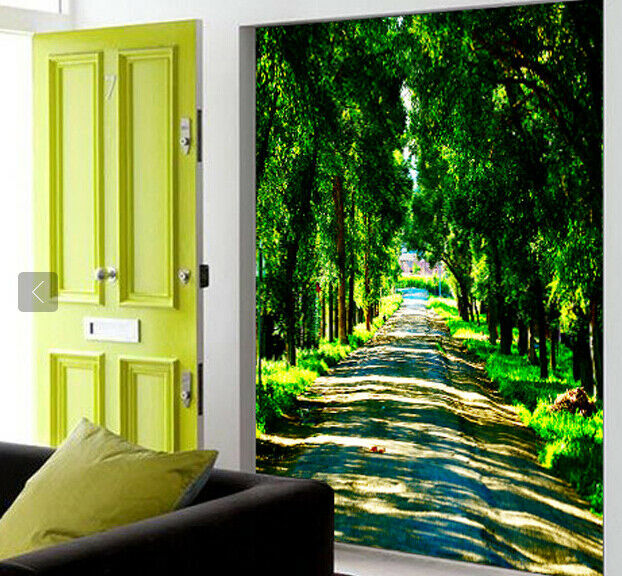 3D Green Trees Road 86 Wall Paper Murals Wall Print Wall Wallpaper Mural AU Kyra