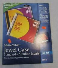 Avery Ink Jet Cd Dvd 8693 Matte White Jewel Case Inserts 20 Sheets New