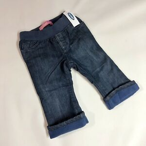 4e3e700869212d Old Navy Baby Infant Pull On Flannel Lined Denim Jeans Pants 12-18 ...