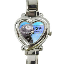 New PARROT AFRICAN GREY BIRD heart italian charm watch Free Shipping