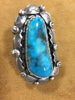 Sterling Silver In Kingman Turquoise Navajo Made By Betta Lee Size 8
