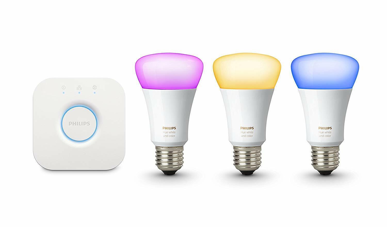 3x Philips Hue Hue Hue Weiß & Colour Ambiance E27 Starter Kit 10W bulbs inc Hue bridge e6e1e8