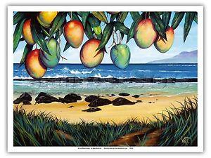 Tropic Travels Hawaii Paradise Ocean Vintage Original Painting Art Poster Print
