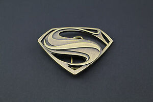 68c4fa5b0a7 GOLD SUPERMAN BELT BUCKLE TEXTURED METAL MAN OF STEEL DC MOVIE VS