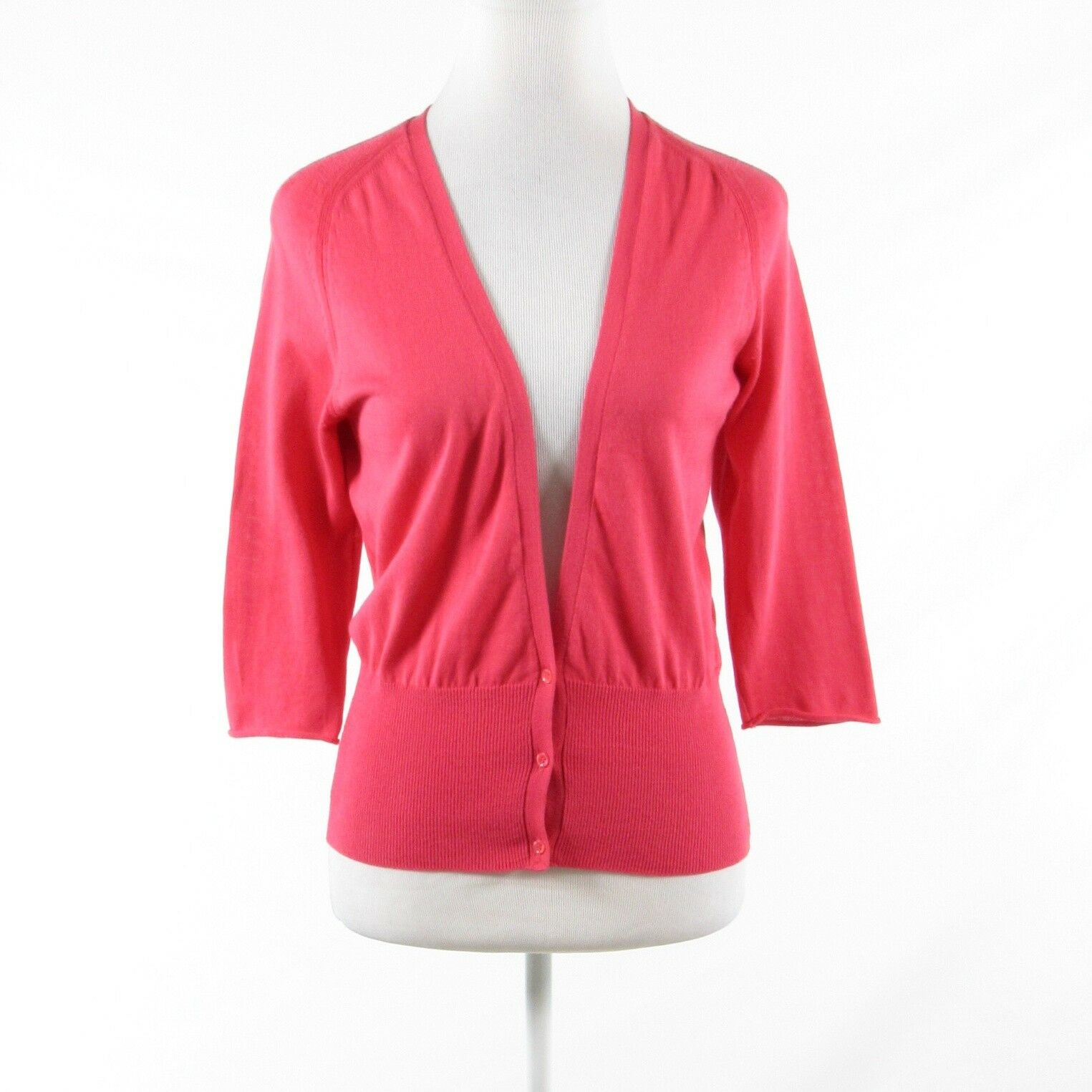 Pink red 100% cotton PIAZZA SEMPIONE 3 4 sleeve cardigan sweater IT40 6
