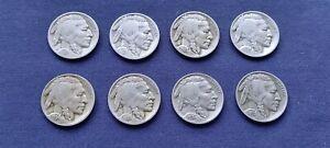 8 USA BUFFALO / INDIAN HEAD NICKEL 5 CENTS 1927- 1937