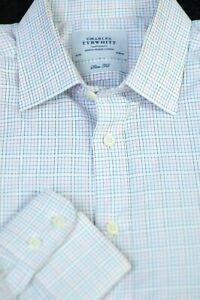 Charles-Tyrwhitt-Men-039-s-White-Blue-Black-Woven-Check-Cotton-Dress-Shirt-16-x-34