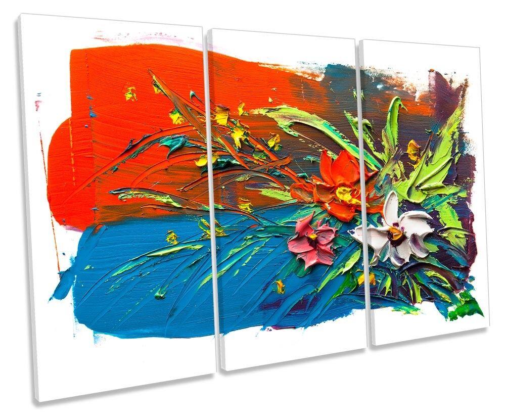 Blau blumen rot Floral TREBLE CANVAS wand kunstWORK drucken kunst