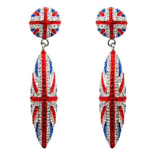 Butler and Wilson Crystal Union Jack Crystal Cone Earrings HARRY ROYAL WEDDING