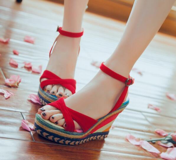 des sandales ouvertes contre cm 10,5 cm contre élégant à l'aise de couleur rouge plateau 8260 eae135