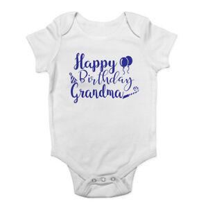 Personalised Happy Grandma Birthday  Baby Kids Present Grow Bodysuit Vest Boy