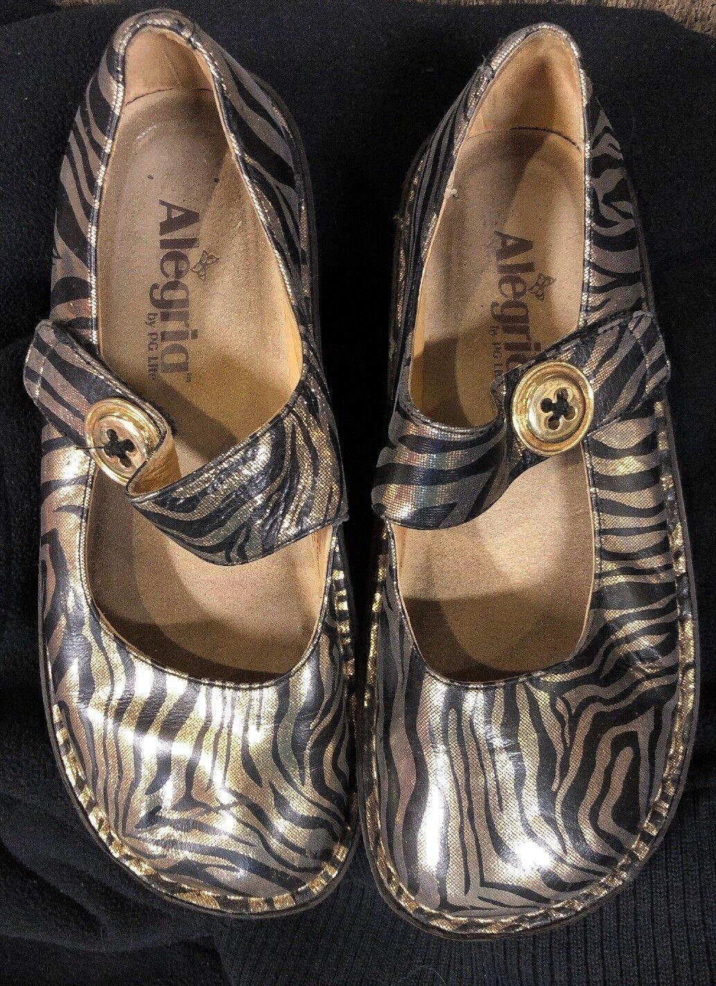 nuovo stile Alegria nero oro Metallic Zebra Print Donna Donna Donna  Mary Janes Dimensione 36 US 6-6 1 2  costo effettivo