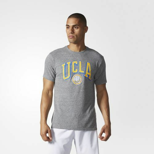 UCLA Bruins Men/'s Deadstock Arch Tri-Blend Short Sleeve Tee Dark Grey Heathered