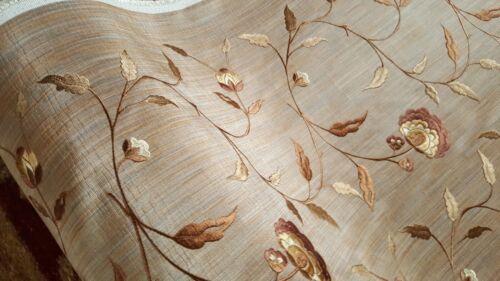 10 M brodé Voyage Jacinto Rideau Ameublement floral tissu BEIGE Matériau