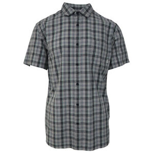 Quik-Silver-Men-039-s-Grey-Everyday-Check-S-S-Woven-Shirt-Retail-44