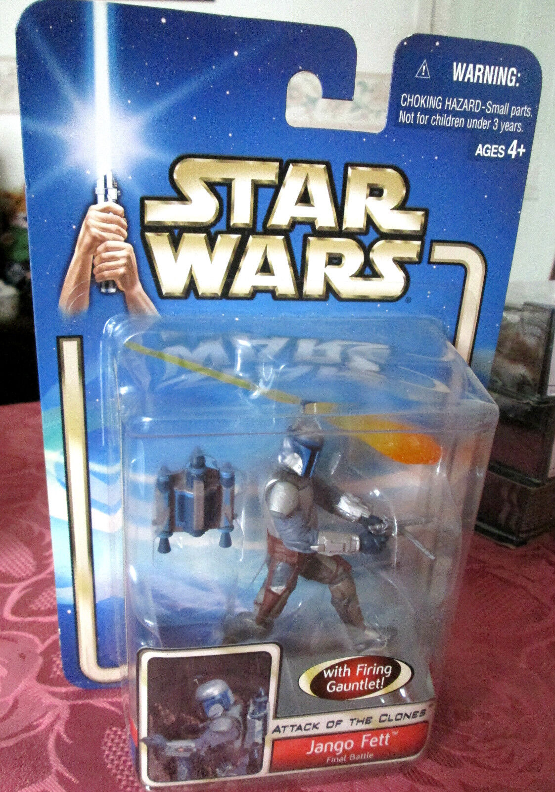 Star Wars AOTC JANGO FETT WITH INCORRECT CARD BACK   FACTORY ERROR.. FREEPOST