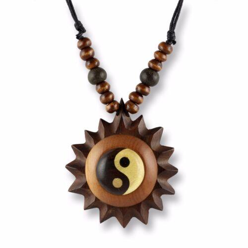 Collar remolque madera amuleto 5cm ying yang Design longitudes regulable n291