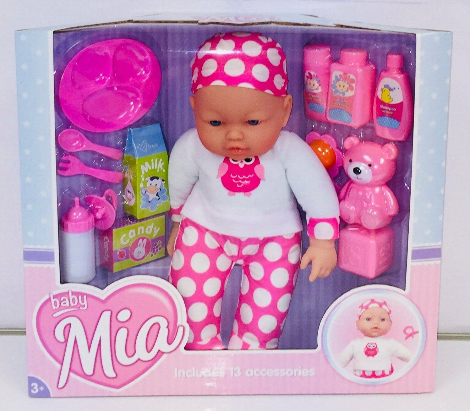 Pink 41cm Baby Mia Doll - 13 Accessories Lifelike Baby Doll Gift Set