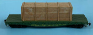 Pola-Maxi-42953-O-Scale-GN-Great-Northern-Flat-Car-W-Box-Load-RARE-Vintage