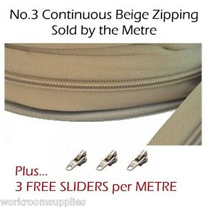 NO-3-CONTINUOUS-CHAIN-ZIP-BY-THE-METRE-PLUS-3-FREE-SLIDERS-PER-METRE