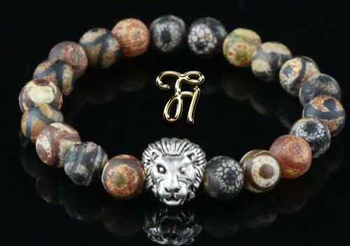 Armband Bracelet Perlenarmband 8mm Tibet Achat silberfarbener Löwenkopf