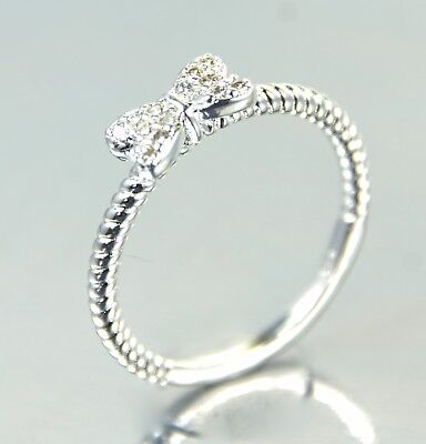 Women/'s Silver plated Clear Crystal Bow Knot ring UK Size P