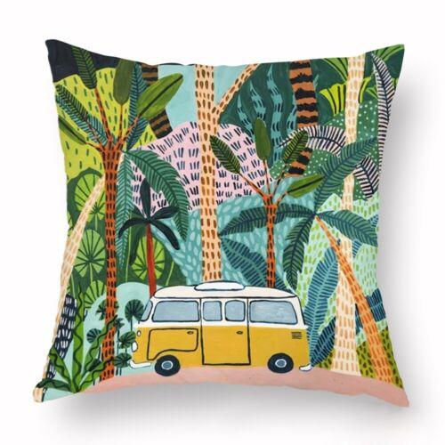 """18/"""" Tropical Plant Sofa Cushion Cover Waist Throw Pillow Case Home Car Decor"""