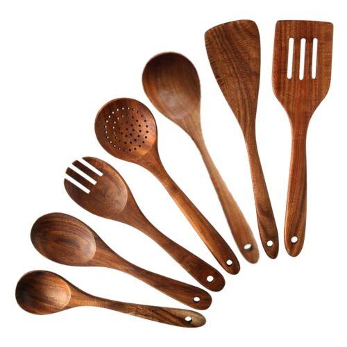 7 PCS Teak Wooden Kitchen Cooking Utensils, Non-Stick Spoons and Spatul 5D6 5X