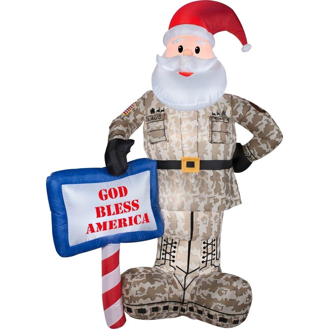 Christmas Airblown Military Santa 7' Tall - Yard Ornament