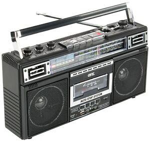 QFX J-220BT Retro AM/FM/SW1/2 4-Band Radio +Bluetooth +Cassette to MP3 Converter