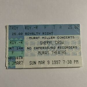 Sheryl Crow Murat Theatre Indianapolis IN Concert Ticket Stub Vintage March 1997