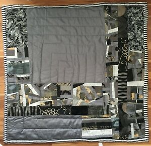 """Signed by Artist Handcrafted """"Silver"""" quilt, 50x52""""; heirloom quality.  New"""