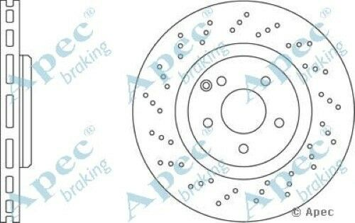 1x OE Quality Replacement Front Axle Apec Vented Brake Disc 5 Stud 330mm Single