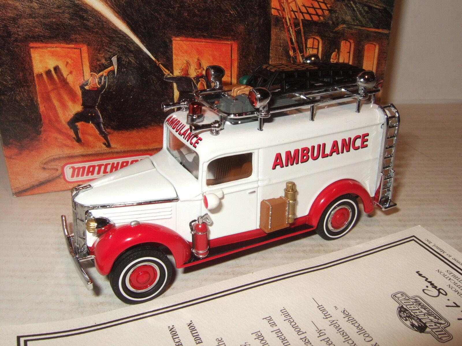 Rare Matchbox YYM35192 1937 GMC Ambulance , Fire Support Vehicle Diecast Model