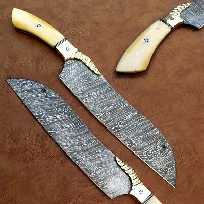 CUSTOM HAND MADE DAMASCUS STEEL KITCHEN CHEF KNIFE / REAL CALME BONE HANDLE    eBay