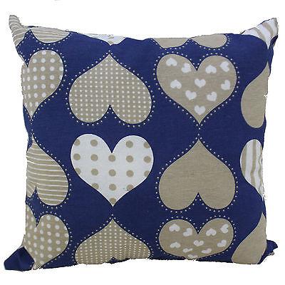 Coussin salon Bleu avec Cœurs décoration de maison sofa cuisine lit en coton