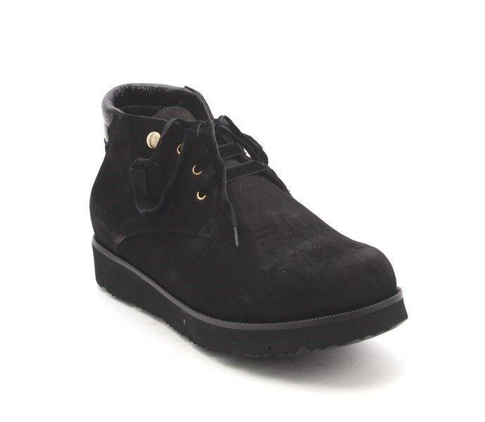 Lucrezia B. 227 A Negro Negro Negro Gamuza de Piel de Oveja Con Cordones botas al Tobillo Super Liviano 36 US 6  promociones de descuento