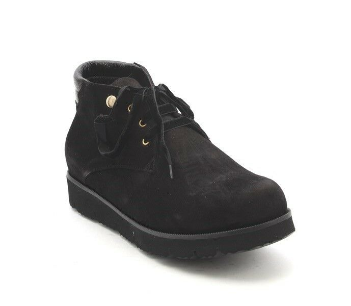 Lucrezia B. 227a Black Suede Sheepskin Lace-Up Super-Light Ankle Boots 39 / US 9