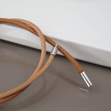 """19 inches 19"""" 48cm Brown Leather Necklace 3mm Cord NON ALLERGY Pewter Connector"""