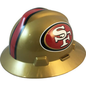 ea61ef092 MSA V-Gard FULL BRIM SAN FRANCISCO 49ers NFL Hard Hat Type 3 RATCHET ...