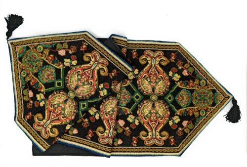 Tache Elegant Black Ornate Paisley Woven Tapestry Table Runner